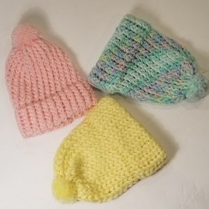 Set of 3 handmade    caps for newborn